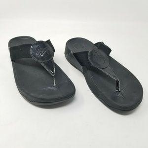 FitFlops Flip Flops Black Platform Thongs Sandal